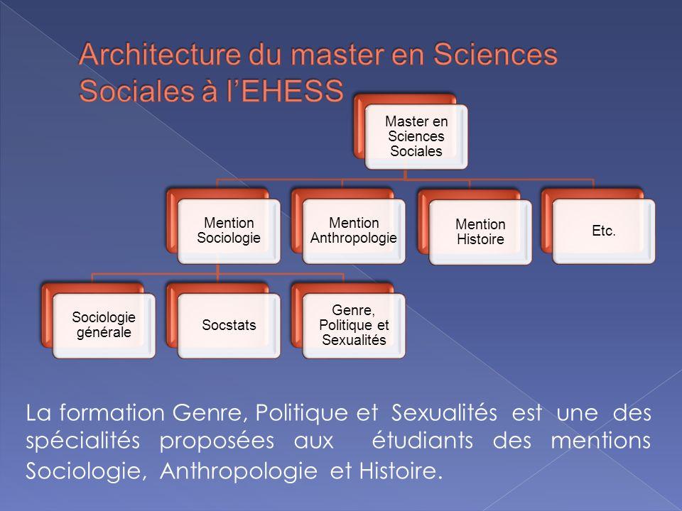 Lannée de Master 1 a pour objectif de consolider la formation générale en anthropologie, histoire ou sociologie, tout en complétant cette formation par des séminaires spécialisés sur le genre.
