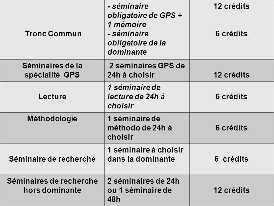 Tronc Commun - séminaire obligatoire de GPS + 1 mémoire - séminaire obligatoire de la dominante 12 crédits 6 crédits Séminaires de la spécialité GPS 2