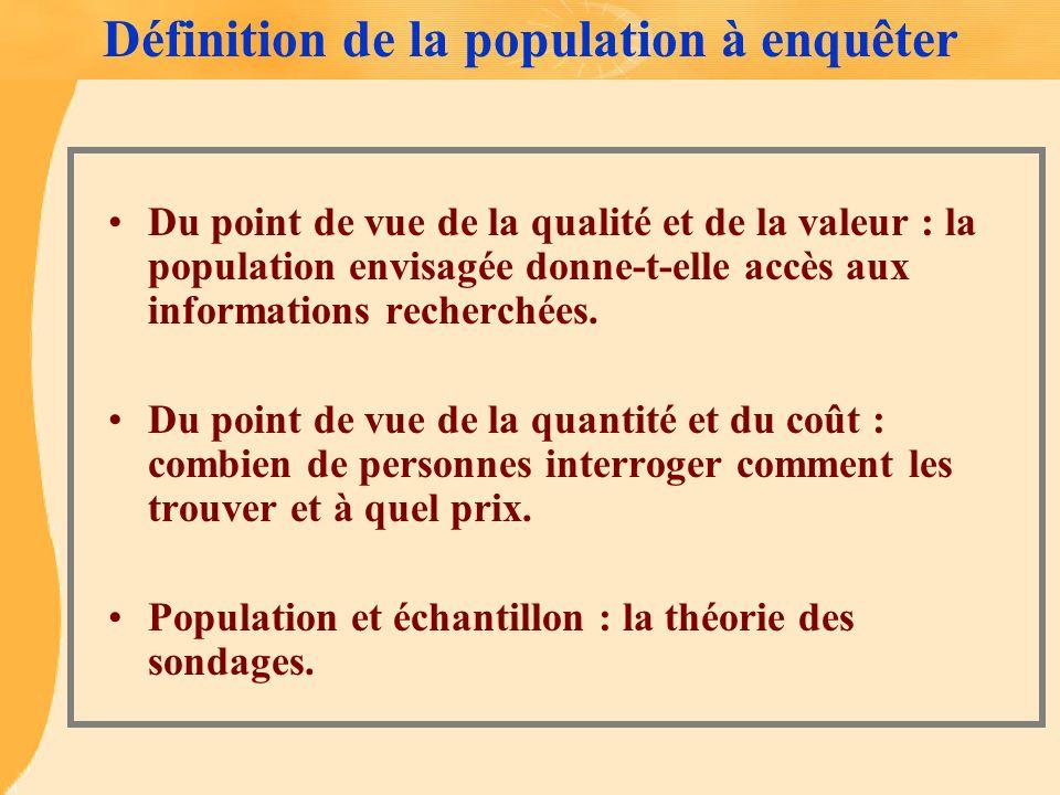 Définition de la population à enquêter Du point de vue de la qualité et de la valeur : la population envisagée donne-t-elle accès aux informations rec