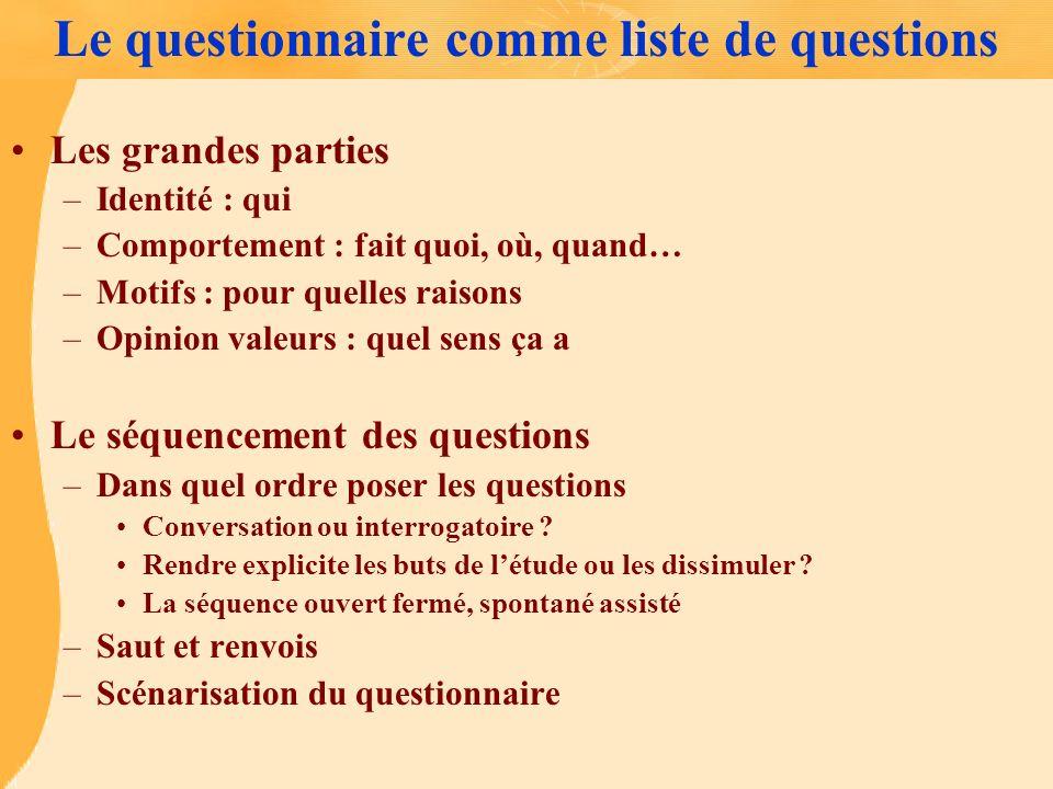 Le questionnaire comme liste de questions Les grandes parties –Identité : qui –Comportement : fait quoi, où, quand… –Motifs : pour quelles raisons –Op