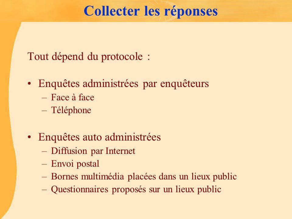 Collecter les réponses Tout dépend du protocole : Enquêtes administrées par enquêteurs –Face à face –Téléphone Enquêtes auto administrées –Diffusion p