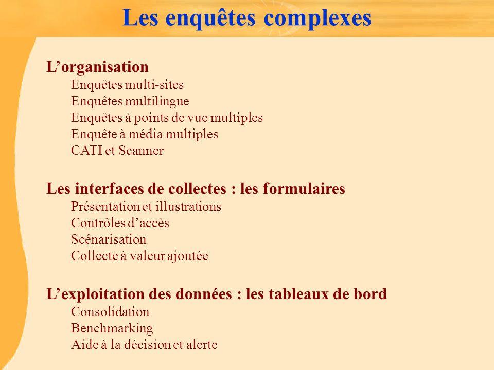 Les enquêtes complexes Lorganisation Enquêtes multi-sites Enquêtes multilingue Enquêtes à points de vue multiples Enquête à média multiples CATI et Sc
