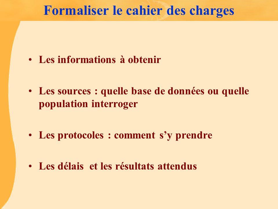 Formaliser le cahier des charges Les informations à obtenir Les sources : quelle base de données ou quelle population interroger Les protocoles : comm