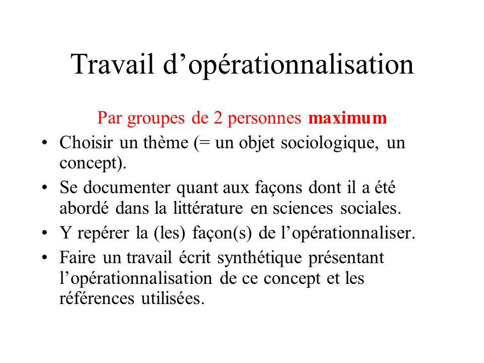 Travail dopérationnalisation Par groupes de 2 personnes maximum Choisir un thème (= un objet sociologique, un concept).