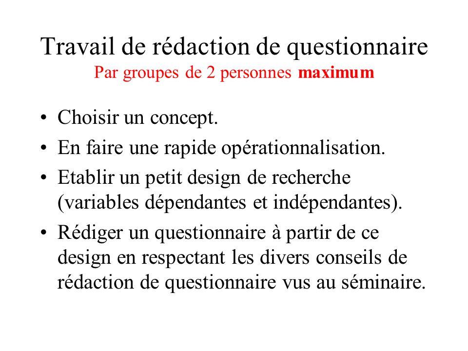 Travail de rédaction de questionnaire Par groupes de 2 personnes maximum Choisir un concept.