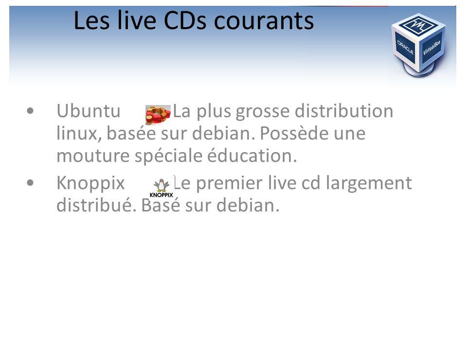 Les live CDs courants Ubuntu : La plus grosse distribution linux, basée sur debian. Possède une mouture spéciale éducation. Knoppix : Le premier live