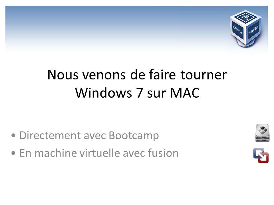 Nous venons de faire tourner Windows 7 sur MAC Directement avec Bootcamp En machine virtuelle avec fusion