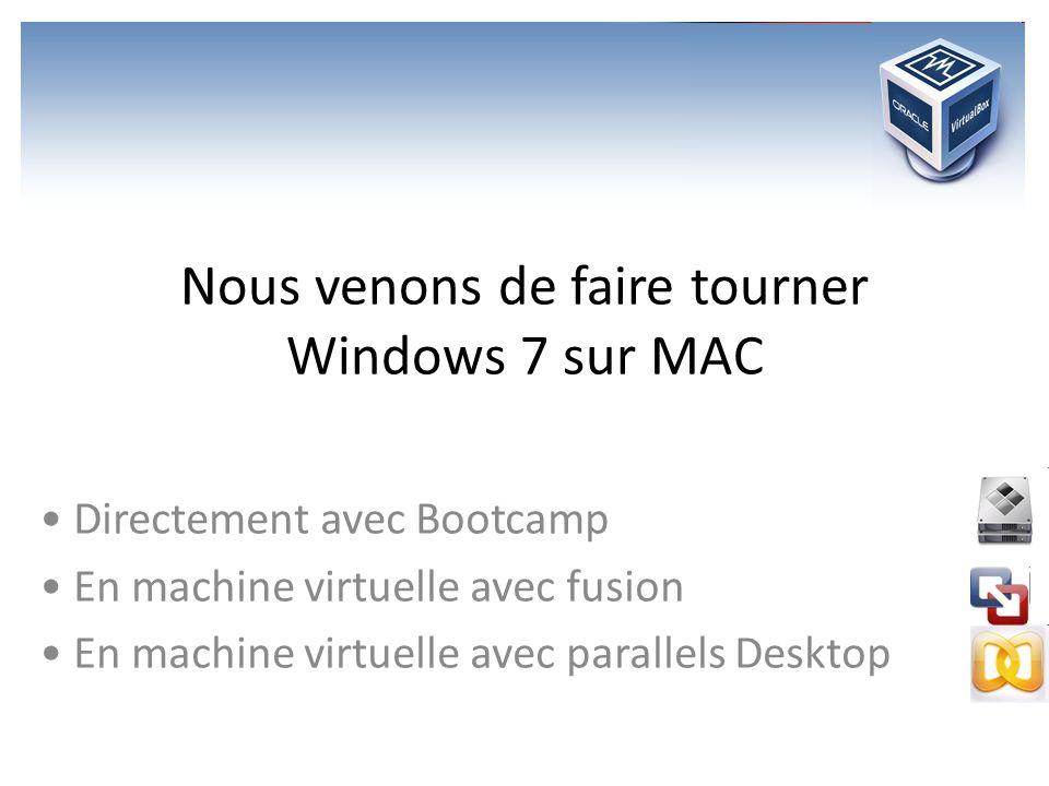 Nous venons de faire tourner Windows 7 sur MAC Directement avec Bootcamp En machine virtuelle avec fusion En machine virtuelle avec parallels Desktop
