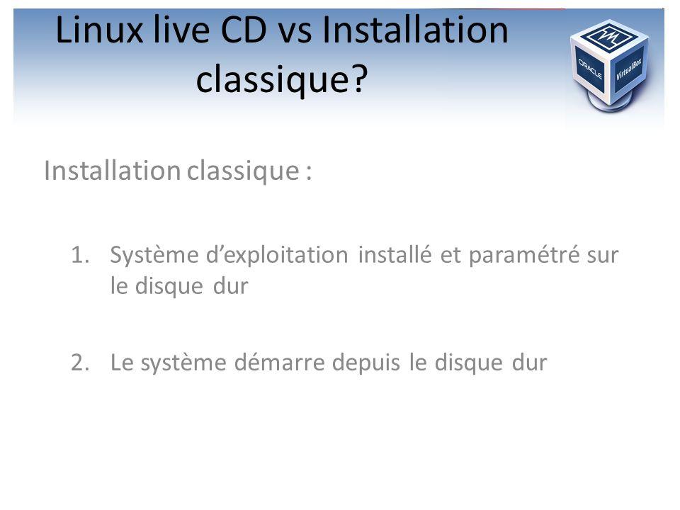 Linux live CD vs Installation classique? Installation classique : 1.Système dexploitation installé et paramétré sur le disque dur 2.Le système démarre