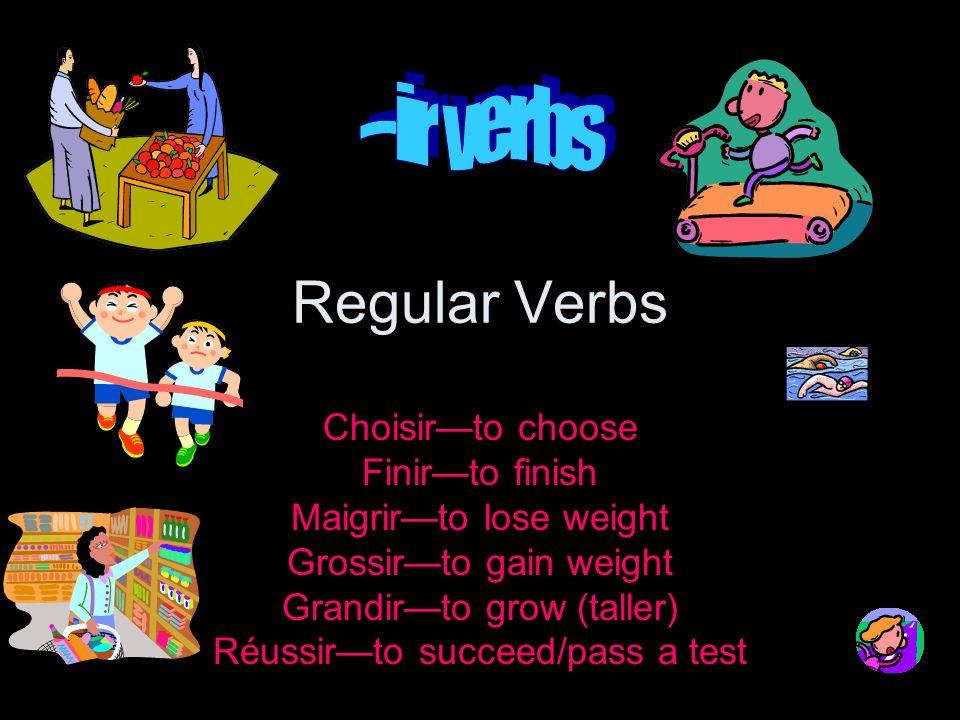 --ir verbs in past tense passé composé For the passé composé, use the verb avoir and the past participle of the –ir verb.