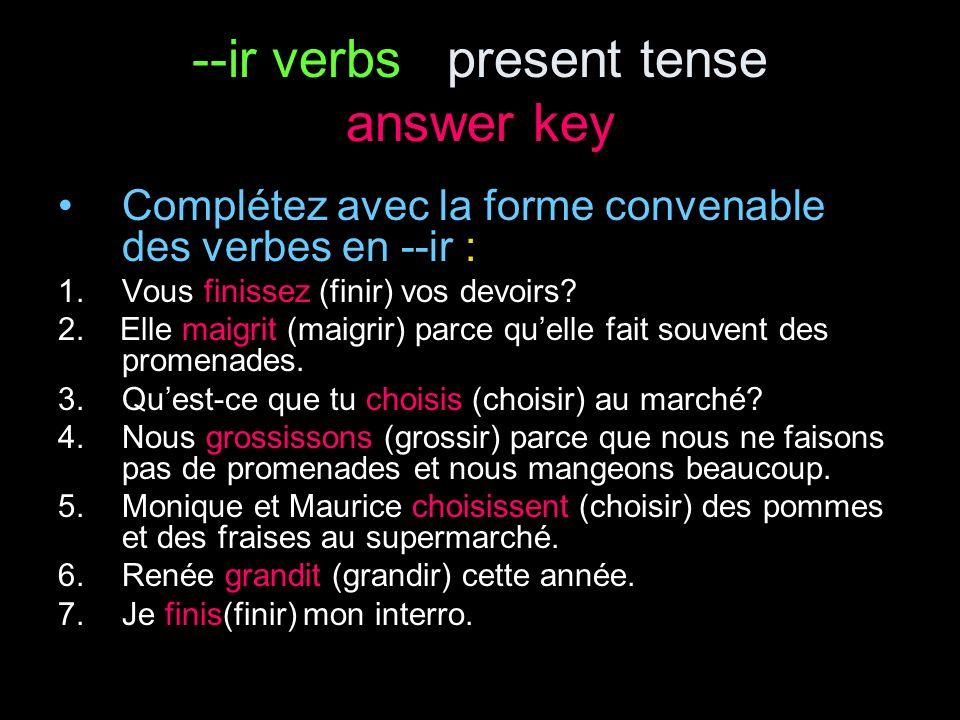 Starter--ir verbs present tense le avril Complétez avec la forme convenable des verbes en --ir : 1.Nous __________ (finir) nos devoirs.