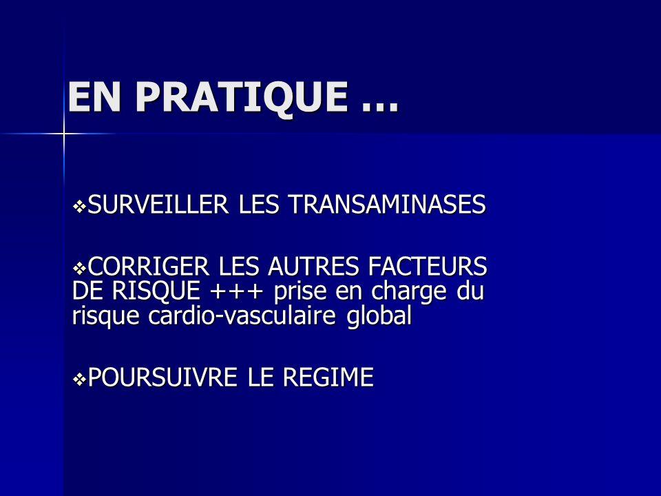 EN PRATIQUE … SURVEILLER LES TRANSAMINASES SURVEILLER LES TRANSAMINASES CORRIGER LES AUTRES FACTEURS DE RISQUE +++ prise en charge du risque cardio-va