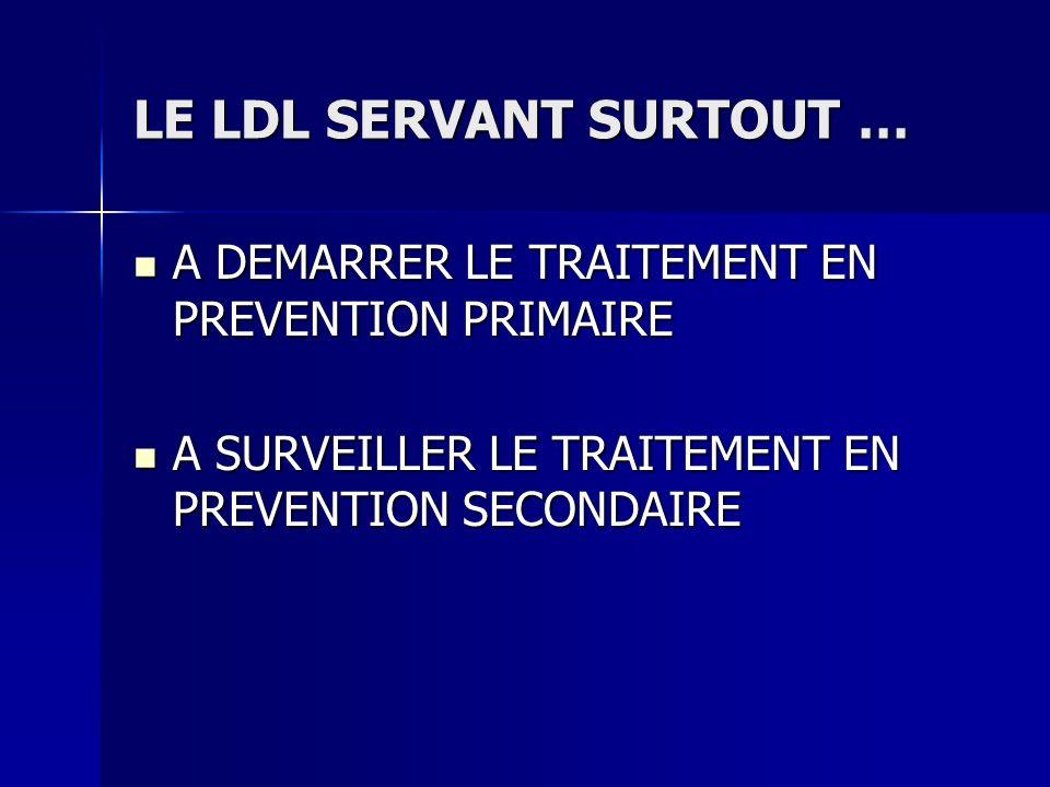 LE LDL SERVANT SURTOUT … A DEMARRER LE TRAITEMENT EN PREVENTION PRIMAIRE A DEMARRER LE TRAITEMENT EN PREVENTION PRIMAIRE A SURVEILLER LE TRAITEMENT EN