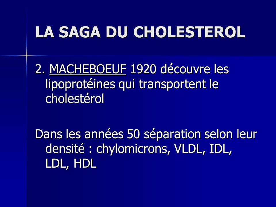 LA SAGA DU CHOLESTEROL 2. MACHEBOEUF 1920 découvre les lipoprotéines qui transportent le cholestérol Dans les années 50 séparation selon leur densité