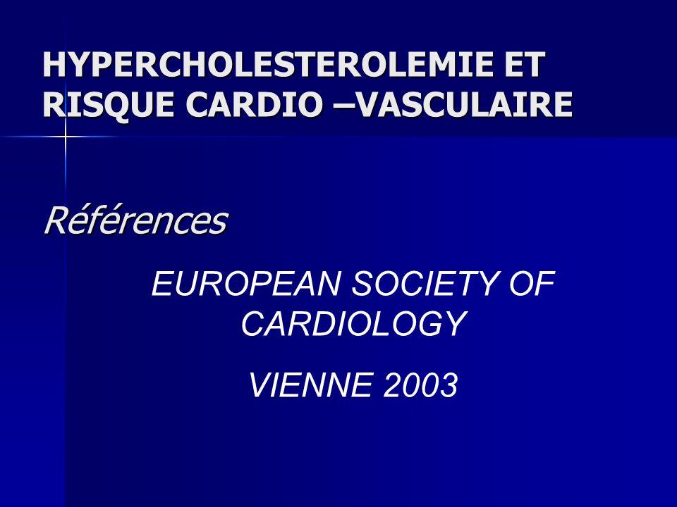HYPERCHOLESTEROLEMIE ET RISQUE CARDIO –VASCULAIRE Références EUROPEAN SOCIETY OF CARDIOLOGY VIENNE 2003