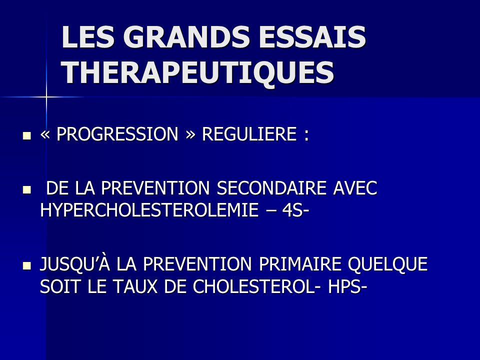 LES GRANDS ESSAIS THERAPEUTIQUES « PROGRESSION » REGULIERE : « PROGRESSION » REGULIERE : DE LA PREVENTION SECONDAIRE AVEC HYPERCHOLESTEROLEMIE – 4S- D