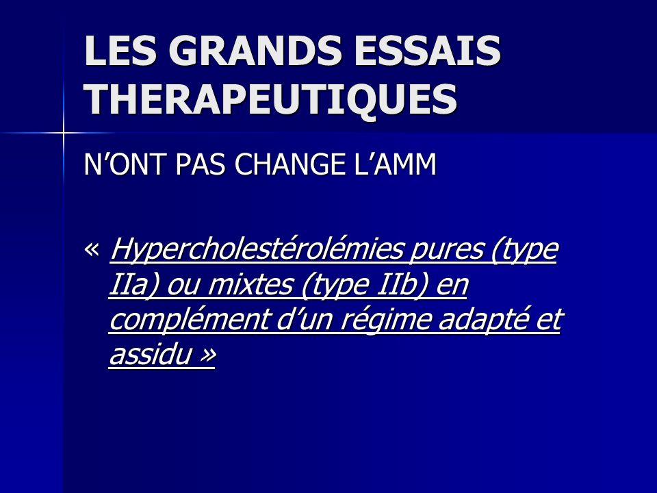 LES GRANDS ESSAIS THERAPEUTIQUES NONT PAS CHANGE LAMM « Hypercholestérolémies pures (type IIa) ou mixtes (type IIb) en complément dun régime adapté et