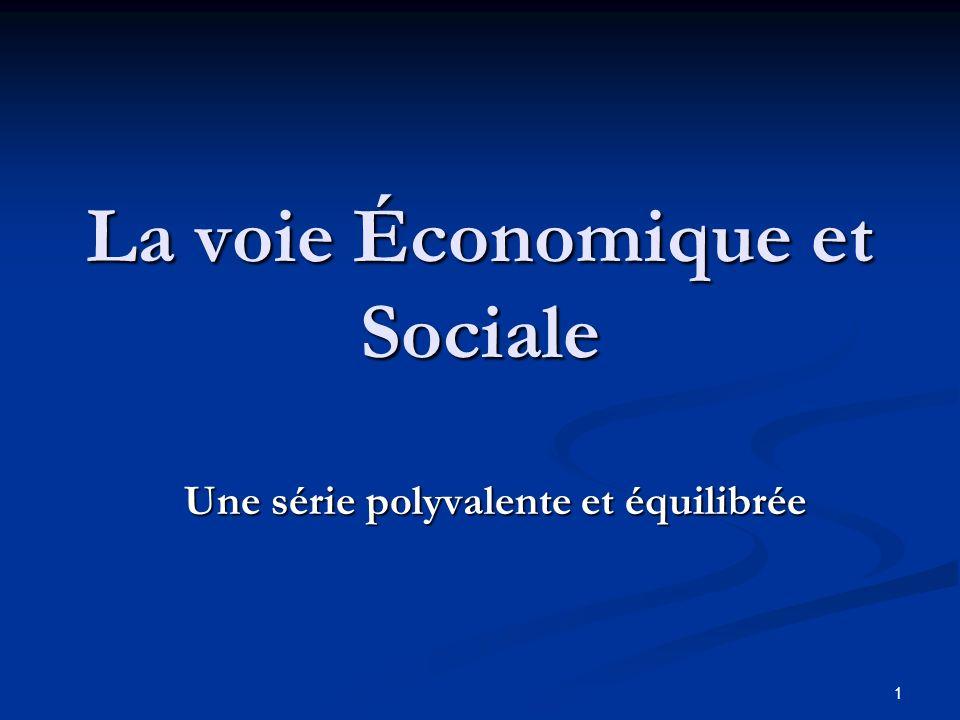 1 La voie Économique et Sociale Une série polyvalente et équilibrée