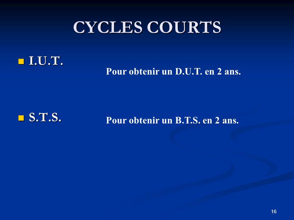 16 CYCLES COURTS I.U.T. I.U.T. S.T.S. S.T.S. Pour obtenir un D.U.T.