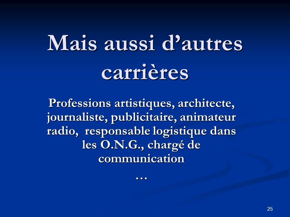 25 Mais aussi dautres carrières Professions artistiques, architecte, journaliste, publicitaire, animateur radio, responsable logistique dans les O.N.G., chargé de communication …