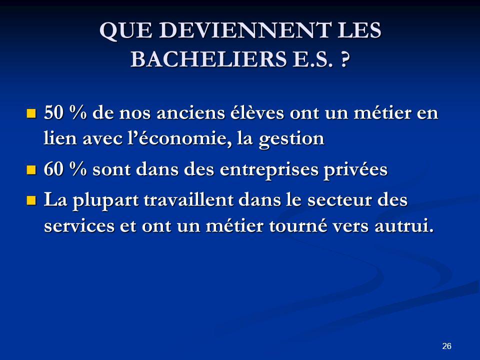 26 QUE DEVIENNENT LES BACHELIERS E.S.