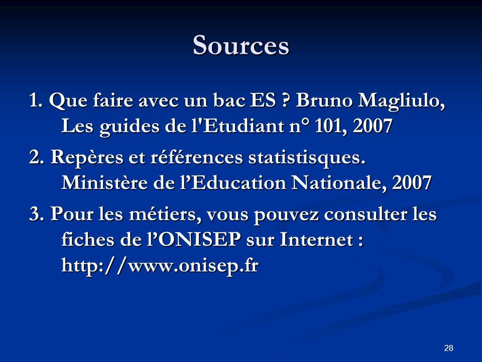 28 Sources 1. Que faire avec un bac ES . Bruno Magliulo, Les guides de l Etudiant n° 101, 2007 2.
