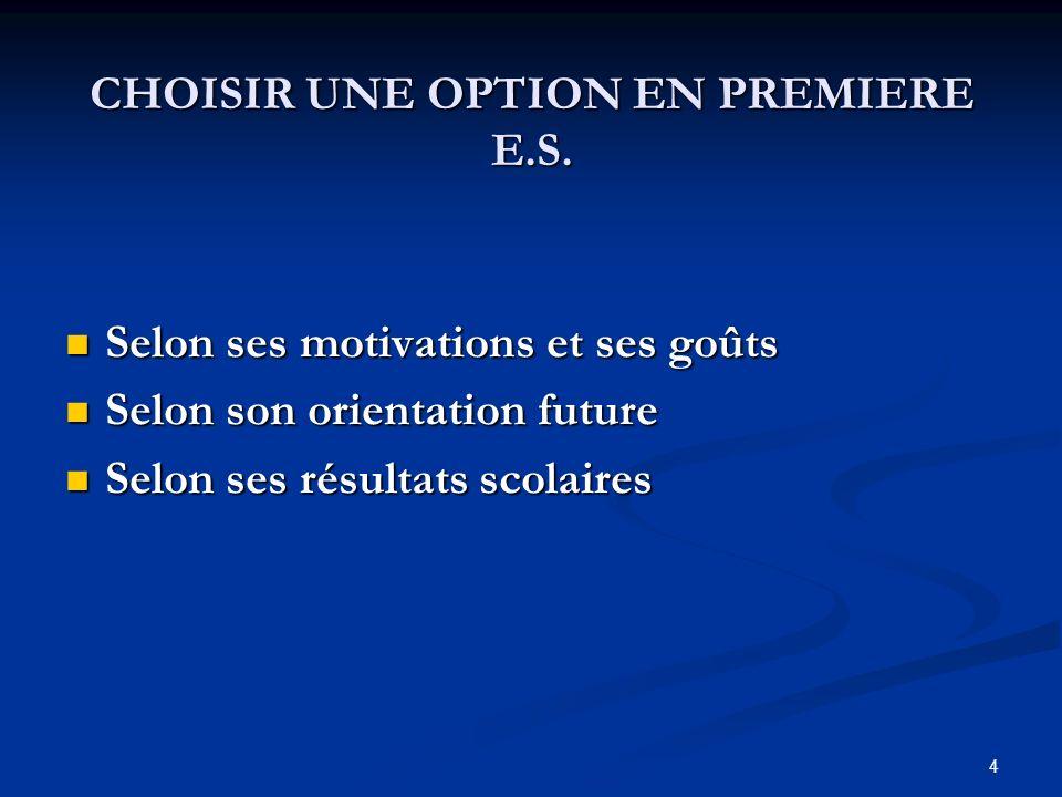 4 CHOISIR UNE OPTION EN PREMIERE E.S.