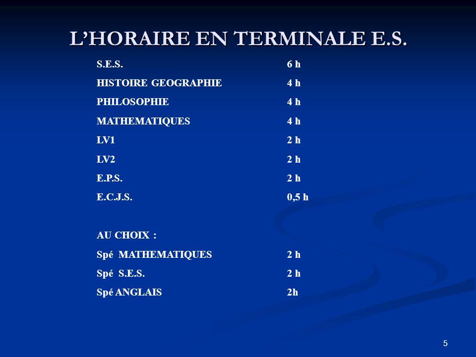 5 LHORAIRE EN TERMINALE E.S.