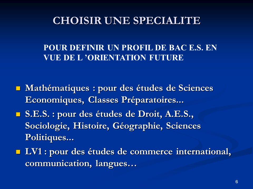6 CHOISIR UNE SPECIALITE Mathématiques : pour des études de Sciences Economiques, Classes Préparatoires...