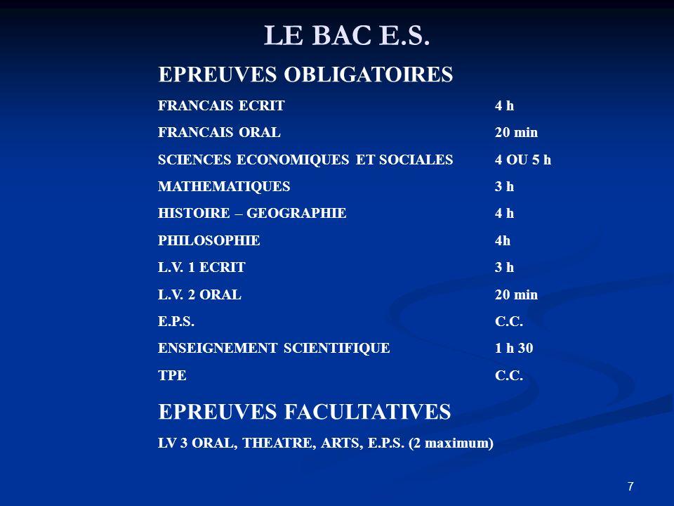 7 LE BAC E.S.