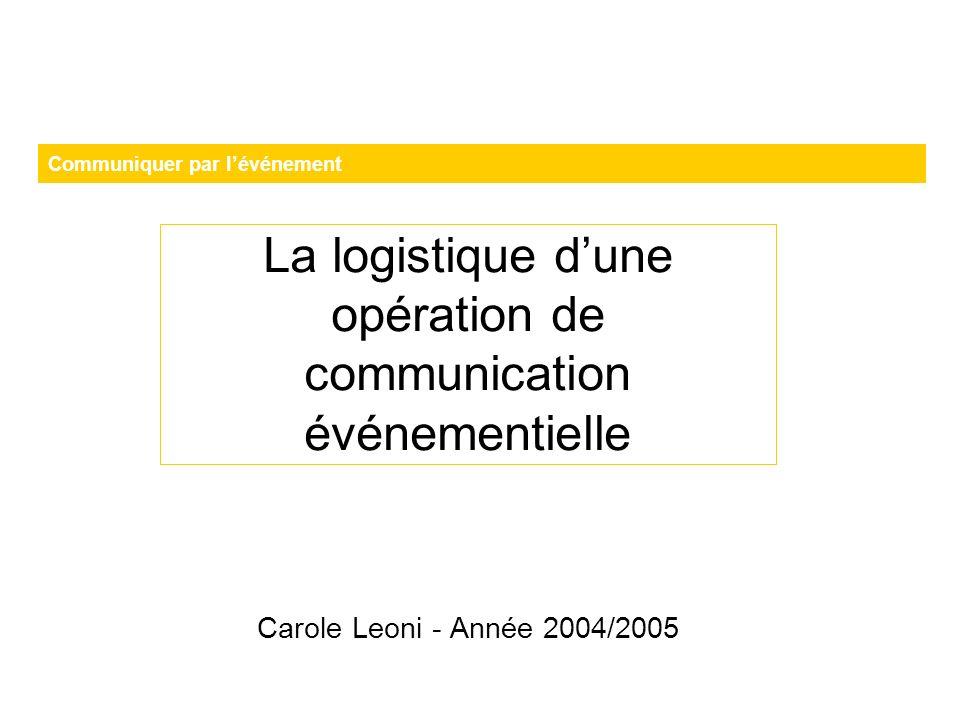 Communiquer par lévénement La logistique dune opération de communication événementielle Carole Leoni - Année 2004/2005