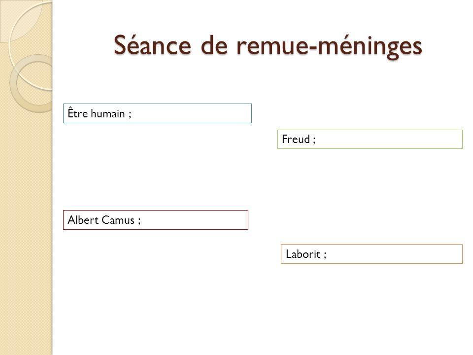 Séance de remue-méninges Être humain ; Albert Camus ; Freud ; Laborit ;
