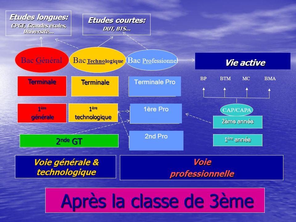 LES POSSIBILITES DE POURSUITES DETUDES APRES LA CLASSE DE 3 ème