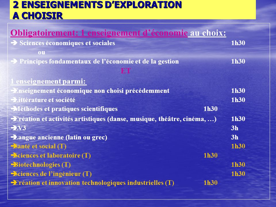 LES ENSEIGNEMENTS COMMUNS A LA CLASSE DE SECONDE Français 4h Histoire-géographie3h Langue vivante 1 et 2 ( LV1 +LV2)5h30 Mathématiques4h Physique-chimie 3h Sciences de la vie et de la terre (SVT)1h30 EPS2h Éducation civique, juridique et sociale30 mn Accompagnement personnalisé 2h Sections internationales6h Sections euro2h ABIBAC6h + 2 enseignements dexploration 2 x 1h30