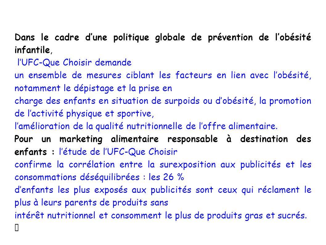 Dans le cadre dune politique globale de prévention de lobésité infantile, lUFC-Que Choisir demande un ensemble de mesures ciblant les facteurs en lien
