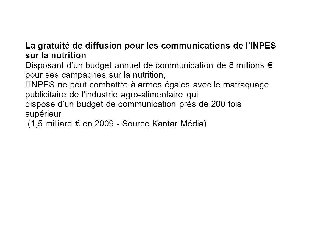 La gratuité de diffusion pour les communications de lINPES sur la nutrition Disposant dun budget annuel de communication de 8 millions pour ses campag