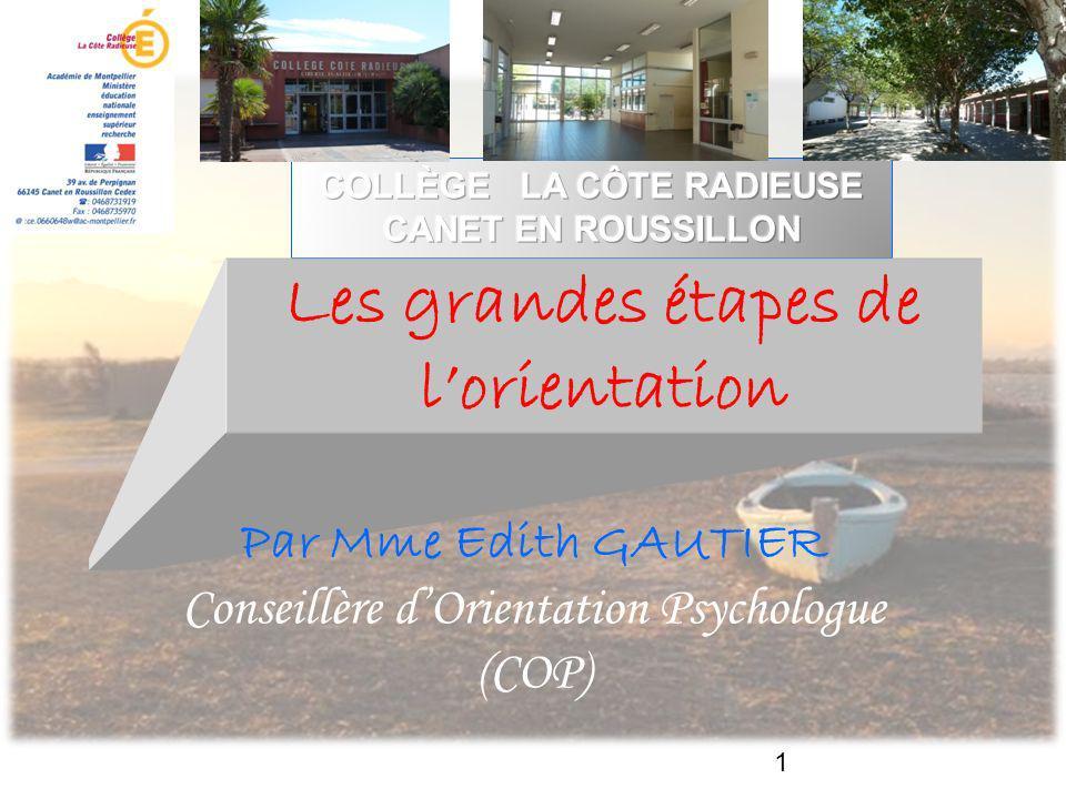 1 Les grandes étapes de lorientation Par Mme Edith GAUTIER Conseillère dOrientation Psychologue (COP)