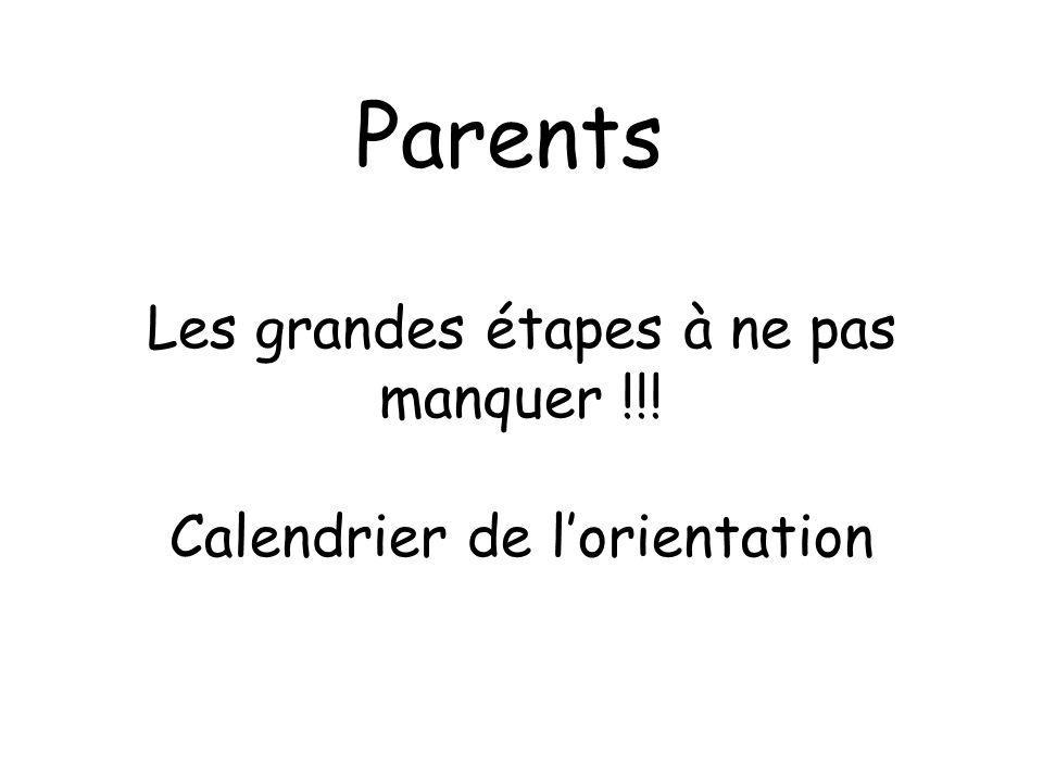 Parents Les grandes étapes à ne pas manquer !!! Calendrier de lorientation