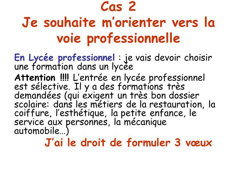 Cas 2 Je souhaite morienter vers la voie professionnelle En Lycée professionnel : je vais devoir choisir une formation dans un lycée Attention !!!.