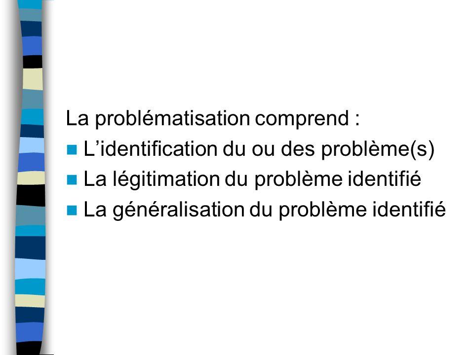 Problématisation : sous-étape du processus de recherche qui vise à : Identifier le problème de recherche Déterminer des objectifs de recherche Constru