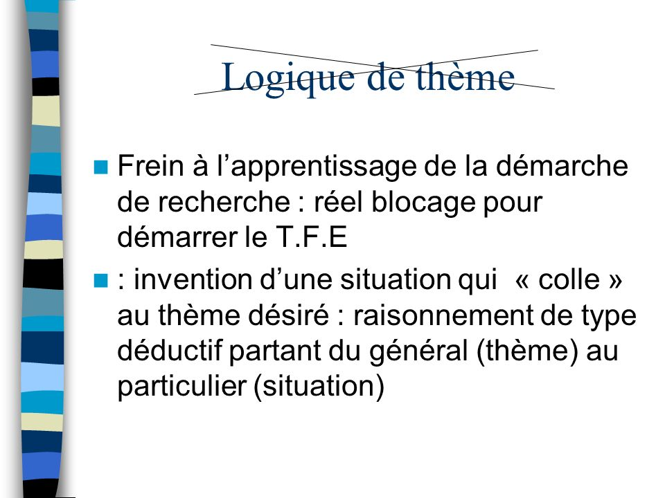 Logique de thème Frein à lapprentissage de la démarche de recherche : réel blocage pour démarrer le T.F.E : invention dune situation qui « colle » au thème désiré : raisonnement de type déductif partant du général (thème) au particulier (situation)