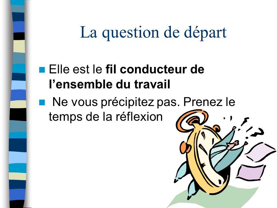 FORMULATION DE LA QUESTION DE DEPART Elle doit respecter les critères de clarté, de faisabilité et de pertinence.