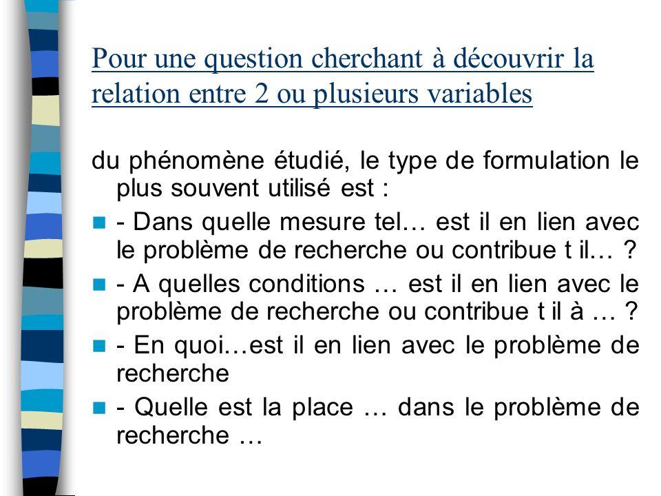 Pour une question cherchant à identifier les facteurs présents dans le phénomène étudié : - Quels sont les obstacles qui déterminent le problème de re