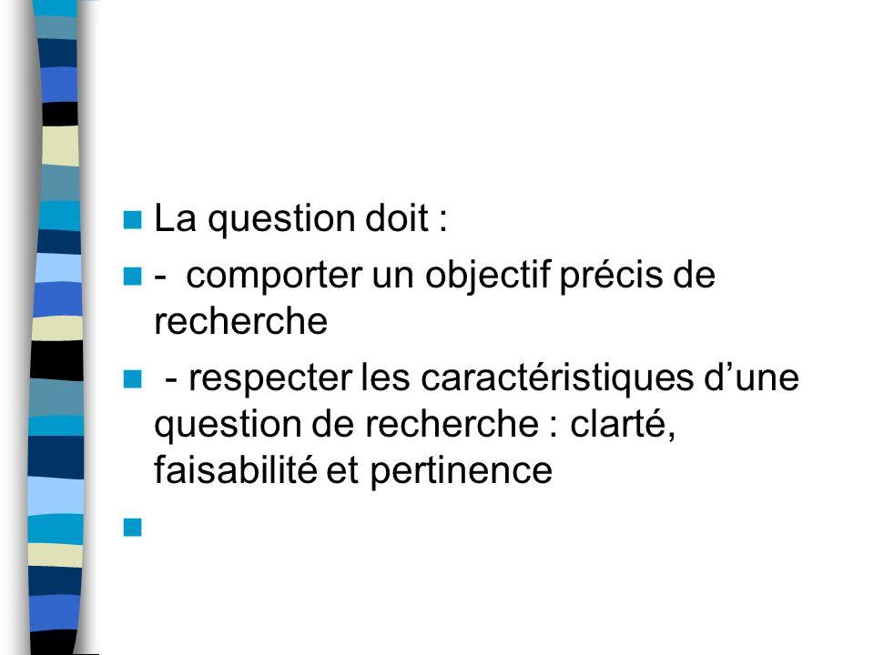 En résumé… La question de départ résulte de lobservation et de lexpérience du chercheur, de la formulation de la situation et de la consultation des é