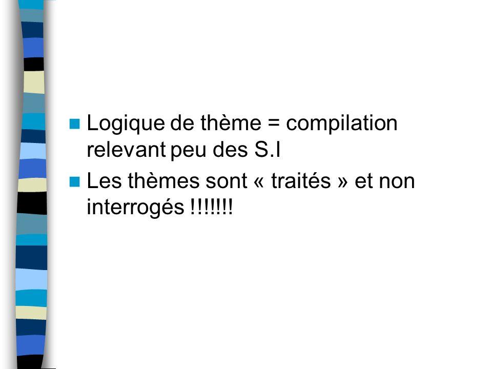 Logique de thème = compilation relevant peu des S.I Les thèmes sont « traités » et non interrogés !!!!!!!