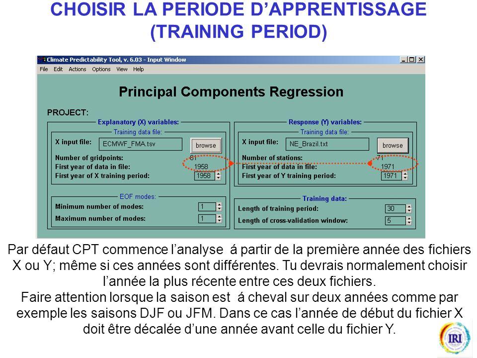 Par défaut CPT commence lanalyse á partir de la première année des fichiers X ou Y; même si ces années sont différentes.