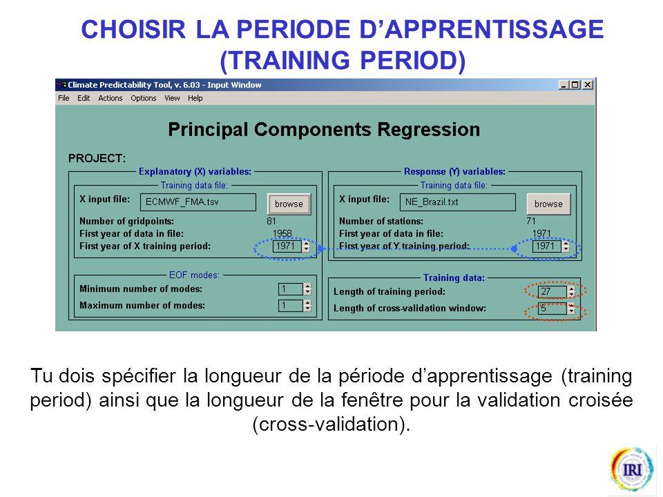 Tu dois spécifier la longueur de la période dapprentissage (training period) ainsi que la longueur de la fenêtre pour la validation croisée (cross-validation).