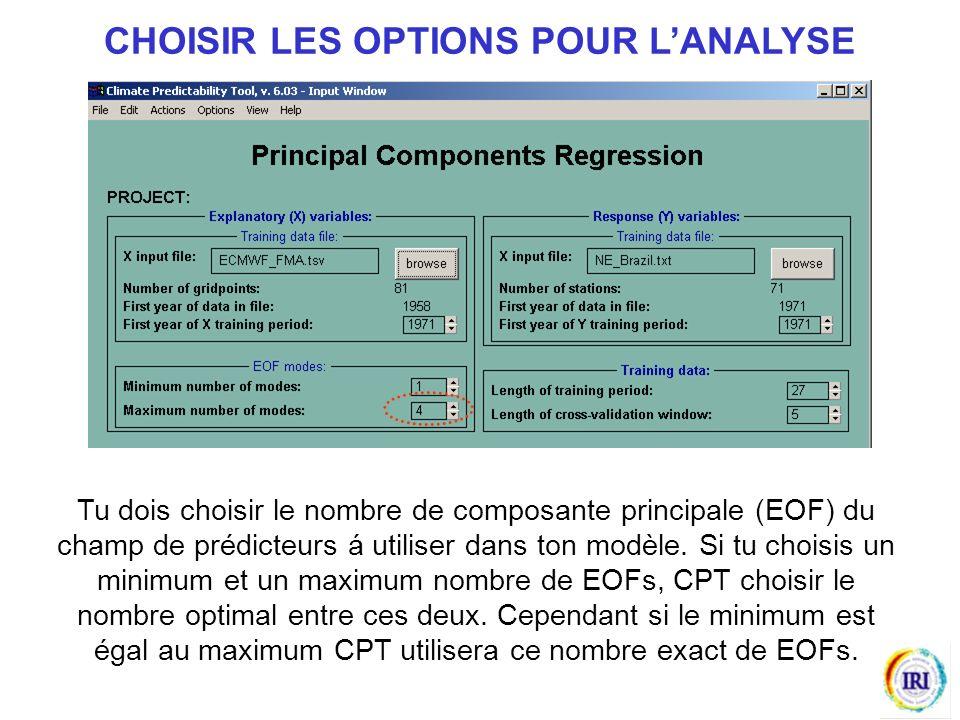 Tu dois choisir le nombre de composante principale (EOF) du champ de prédicteurs á utiliser dans ton modèle.