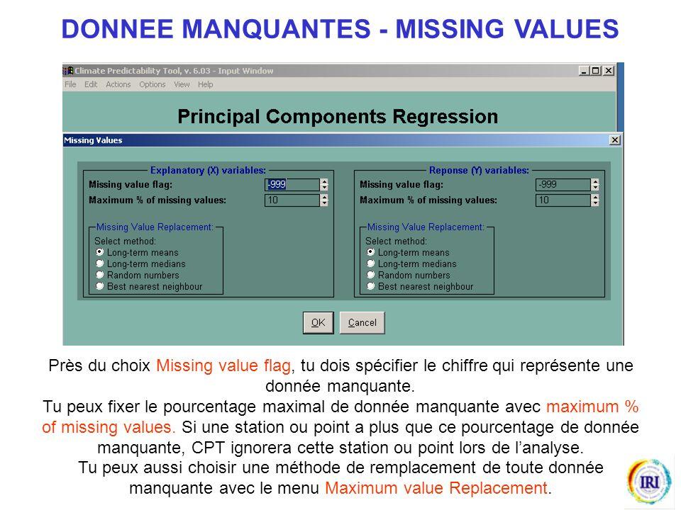 Près du choix Missing value flag, tu dois spécifier le chiffre qui représente une donnée manquante.