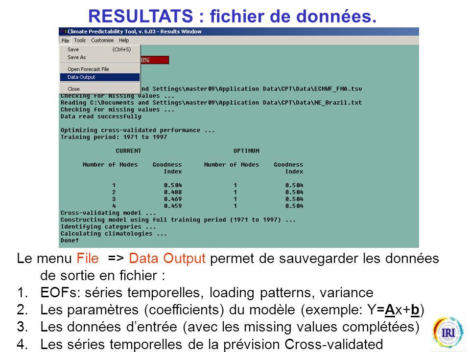 Le menu File => Data Output permet de sauvegarder les données de sortie en fichier : 1.EOFs: séries temporelles, loading patterns, variance 2.Les paramètres (coefficients) du modèle (exemple: Y=Ax+b) 3.Les données dentrée (avec les missing values complétées) 4.Les séries temporelles de la prévision Cross-validated RESULTATS : fichier de données.